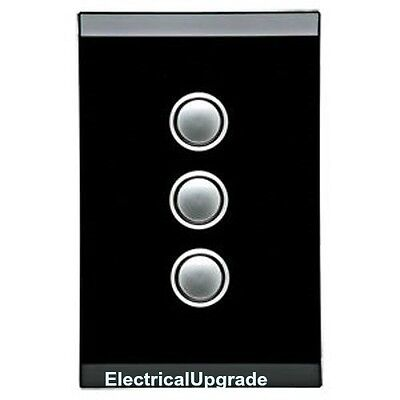 Clipsal Switches Saturn offer 3 Gang Led Push Button 4063PBL EB (Espresso Black)