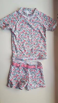 NEXT baby girl 18-24 months pink multi floral 2 piece swimming UV safe tankini