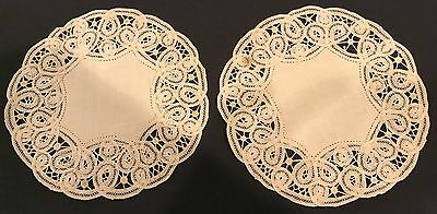 Antique Embroidered Tape Lace Doilies Antique Beige Round 6 In. X 2
