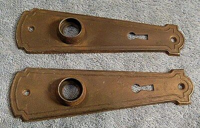 Pair Of Matching Antique Victorian Brass Door Knob Door Plate #2