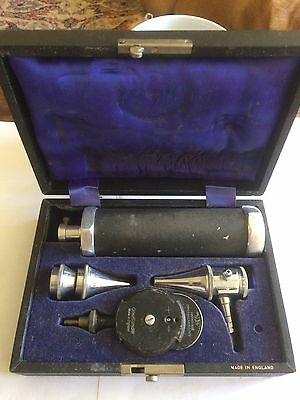 Vintage Gowllands Diagnostic Set Boxed Ophthalmoscope Otoscope Medical Good