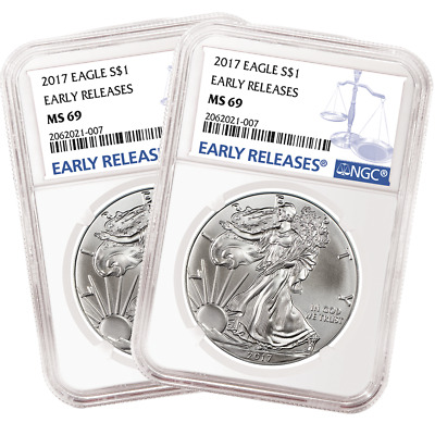 Lot of 2 - 2017 $1 American Silver Eagle NGC MS69 Early Releases Blue ER Label
