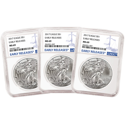 Lot of 3 - 2017 $1 American Silver Eagle NGC MS69 Early Releases Blue ER Label