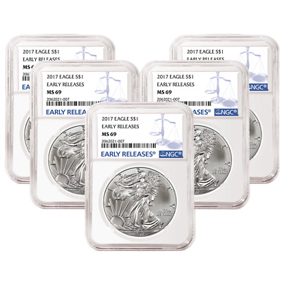 Lot of 5 - 2017 $1 American Silver Eagle NGC MS69 Early Releases Blue ER Label