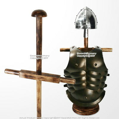 Wooden Display Stand for Medieval Style Roman Body Armor Helmet Natural Color