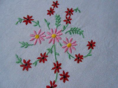 Beautiful Vintage Linen/rayon Mix Hand Embroidered Tablecloth