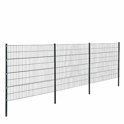 [pro.tec] Fence 6x1, 6M Grey Double Rod Fence Set Grid Meshes Metal Fence
