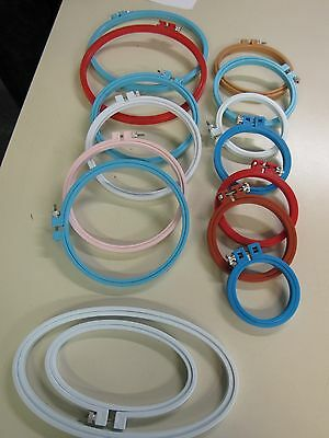 Mixed Lot 15 Plastic  Embroidery Hoops  Many Sizes
