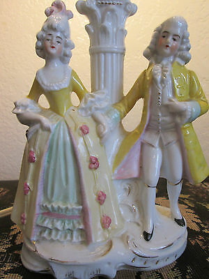 Antique DEP German Bisque Figurines Working Lamp Base #15961
