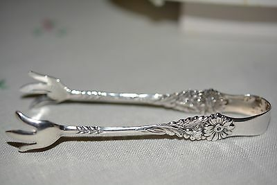 Vintage Sterling Silver Sugar Tongs Embossed Floral Hallmarked 16 grames
