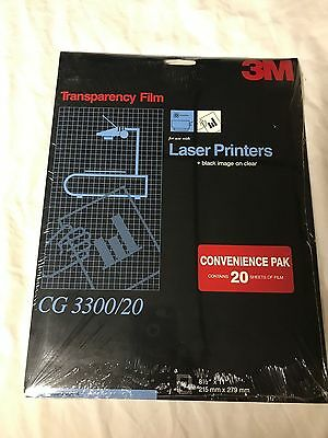 """3M Transparency Film CG3300 for Laser Printers 20 Sheets Sealed 8 1/2 X 11"""""""