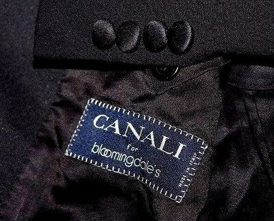 CANALI Italy Tuxedo Suit Men's 46S 41x29  Black Wool & Mohair Pick Stitching