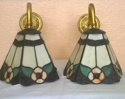 Vintage One Pair (2) Art Nouveau Tiffany Style Shades On Brass Arm Wall Lights