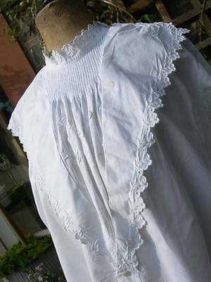 Antique French hand embroidered chemisier woman's blouse w. monogram MS