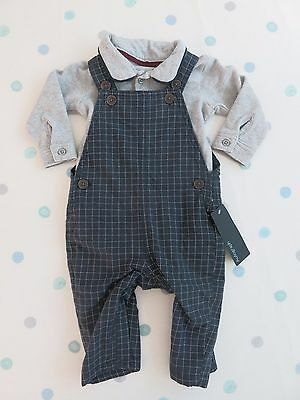 M&S Autograph Baby Boys Navy Mix 2 piece Dungaree Set 0 - 3 months.BNWT RRP £20
