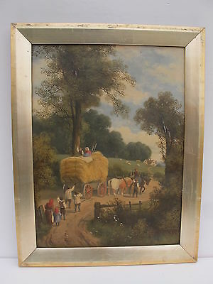 Superb Antique Oil Painting Of Country A Scene With Haycart Signed H.b.wilcox