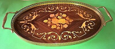 Vintage Marquetry Floral Inlaid Wood and Brass Oval Tray with handles