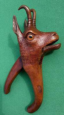 Antique Black Forest Carved Wood Chamois Nutcracker with Glass Eyes
