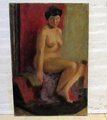 Antique nude lady oil on canvas painting