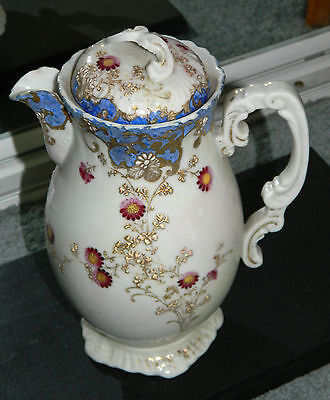 Vintage Antique Victorian Pitcher with Lid Hand Painted