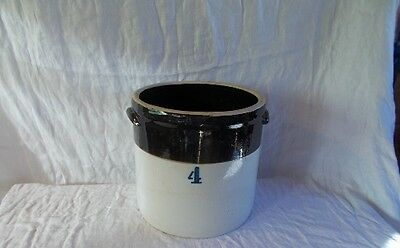 Antique/Vintage Stoneware Country #4 Gallon Crock Brown  Two Tone Double Handles
