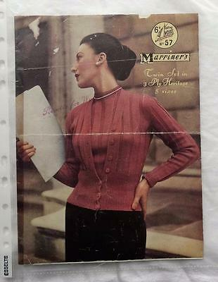 VINTAGE MARRINER'S No. 57 KNITTING PATTERN - LADIES 3 PLY TWIN SET
