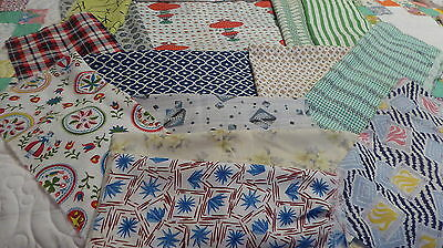 "Lot of 15 Vintage Feedsack 10-12""+ + Blocks Pces Fabric Quilt top CRAFTS Dolls"