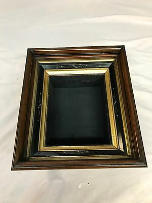 Antique Picture Frame 1860s Walnut Carved Deep Shadow Box Style Fancy Gold Gilt