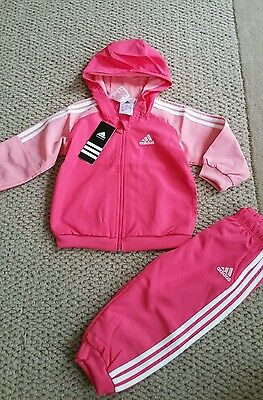 NEW Baby Girls Pink Adidas Tracksuit set 9-12 months