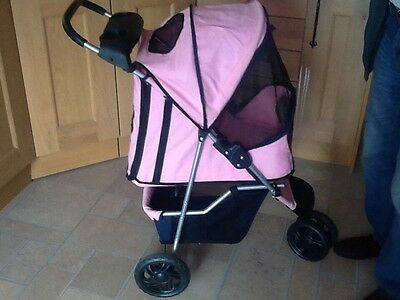 Pink Three Wheeled Pet Buggy/stroller For Small To Medium Dogs