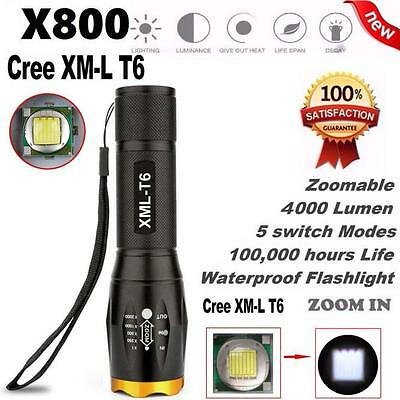 G700 X800 LED Tactical Military Cree XM-L T6 Flashlight Torch Zoom Waterproof uk
