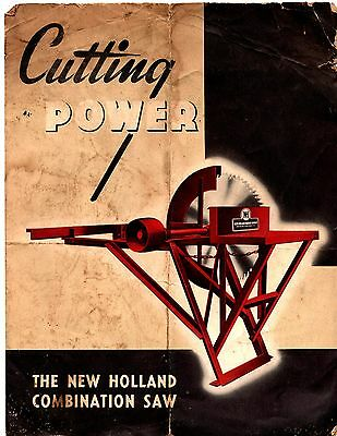 Vtg New Holland Tractor Cutting Power Combination Saw Advertising Brochure
