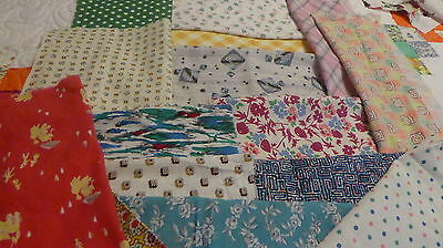 "Lot of 15 Vintage Feedsack 10-12""+ Blocks Pieces Fabric Quilt top CRAFTS  Dolls"