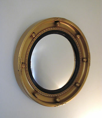 Vintage Regency Style Gilt Ball & Bow Convex Porthole / Butlers Mirror
