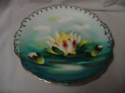 "Prussia Handled Plate Hand Painted Crown B Waterlily Blue 10"" Across Vintage"