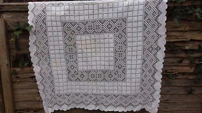 Vintage Filet Lace Tablecloth / Curtain  Linen Handmade