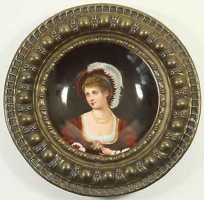 Antique German Hand Painted Portrait Plate Bronzed Brass Repousse Frame Best!