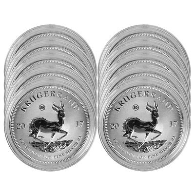 Lot of 10 - 2017 South Africa 50th Anniversary 1 oz Silver Krugerrand In OGP