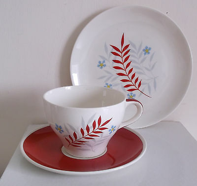 Wade Woodmist Red 1950's Trio Cup Saucer Tea Plate