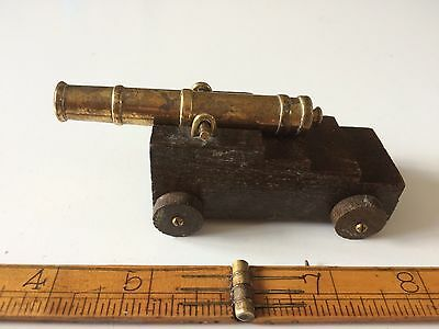 Antique vintage Miniature Brass / Wood Victory Model Cannon