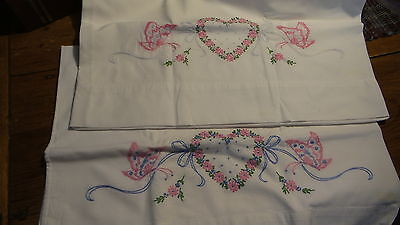 Vintage EMBROIDERED PILLOWCASE PAIR Pink & Blue Hearts & Butterflies
