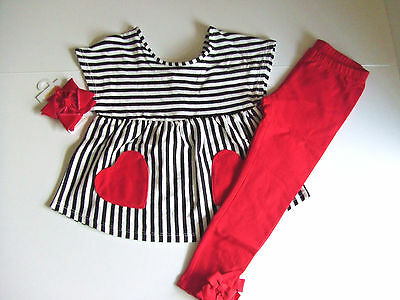 NWT Gymboree COZY VALENTINE Sz 3T Striped Top Hairclip and Bow Leggings NEW