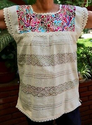 Authentic Peasant Blouse Beautifully Hand Embroidered from Oaxaca Mexico
