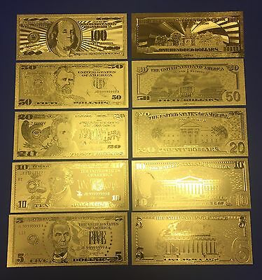 Unique Collection 5 Pc Set .999 24kt Gold U$A Banknotes $5, $10, $20, $50, $100