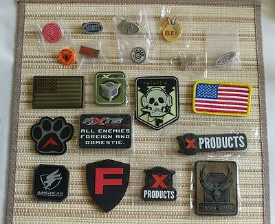 Lot of 20 Guns And Ammo Patches and Pins (New And In Perfect Condition)
