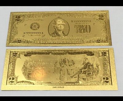 Beautiful Detail .999 24kt Gold US $2 Two Dollar Bill Banknote + Sleeve Included