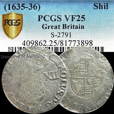 PCGS Certified! Charles I 1635-1636 Great Britain Shilling! sku #3898