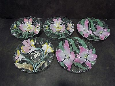 5 Sydenstricker Pink Floral Fused Art Glass Ruffled Bowls Signed 6 3/4""