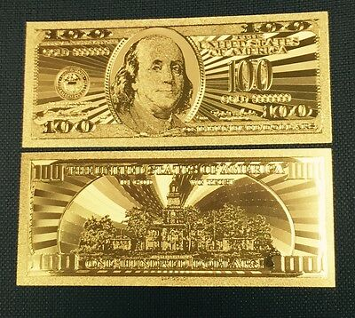 Beautiful .999 24kt Gold US $100 One Hundred Banknote W/ Sleeve 14.5 x 6.5cm