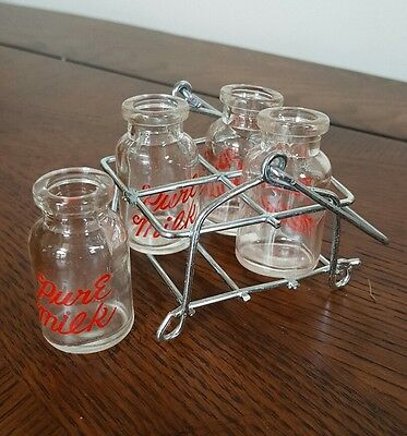 "Vintage ""Pure Milk"" Miniature Glass Bottles w/Crate Carrier"